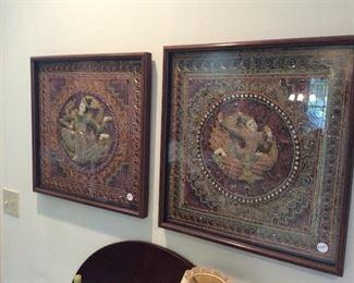 Pair of framed needlework tapestries.