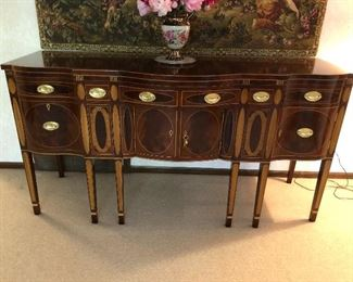 Kindel Winterthur Reproduction inlaid mahogany New York sideboard.