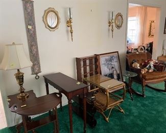 Various Bombay tables, shelves, plant stand with marble top.