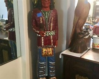 "Indian - 73"" Tall -  Carved Wood"