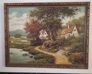 Very large country charm cottage oil painting by B. Pierson