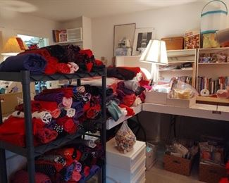 Even more different sewing cloth. Also, sewing tables, storage, how to books, patterns, and so much more
