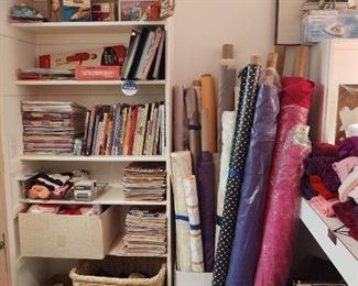 Yet more fabric! On big rolls, and more instruction books and patterns and other crafting notions