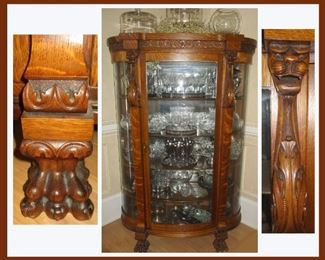 Beautiful  Antique Bow Front China Cabinet Showing Details of the Exquisite Carving