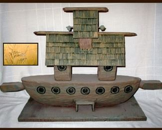 Cool Carved Dan Grunst Wooden Boat Signed and Dated 1997