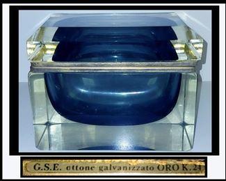 Large Murano Glass Casket/Box Marked G.S.E. Ottone Galvanizzato ORO K.24