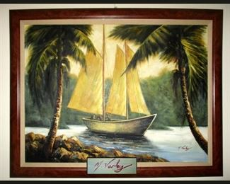 M Varley Signed Very Large Oil Painting; Perfect for any Florida Home Decor
