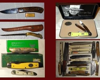Knife Collection including Barrett, Moore, Hen and Rooster and Case