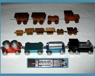 Teeny Weenie Trains; Bottom Aluminum Train is Marked Gebr Hildner Germany