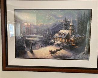 """Thomas Kinkade print """"Sunday Evening Sleigh Ride"""""""