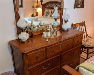Hardrock maple double dresser and mirror