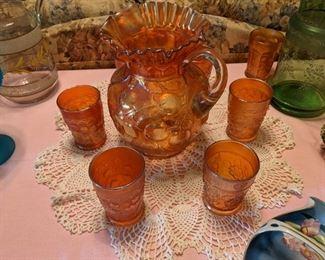 Antique Marigold Carnival Glass