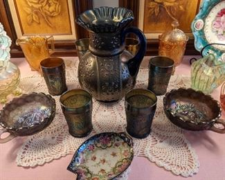 ANTIQUE Blue Fenton carnival glass pitcher and tumblers
