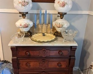 Marble top Washstand with 2 GWTW lamps