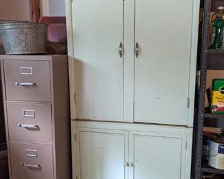 Old wood cabinet & Metal file cabinet