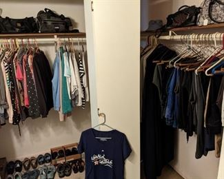 Lots of lady's clothing, shoes, purses, etc.  (Mostly small &  petit)