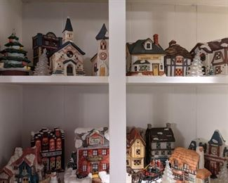Full Christmas Village of ceramic houses with lights