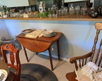 Antique Pine drop leaf table....Barware
