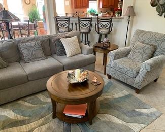 Very Clean Furniture  3 cushion Couch and 2 beautifully   paired Chairs and Accent Carpet
