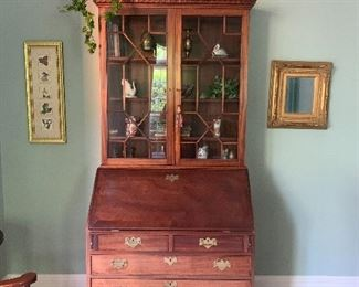 Vintage Soldi Wood Secretary with Drop Front and Bookcase