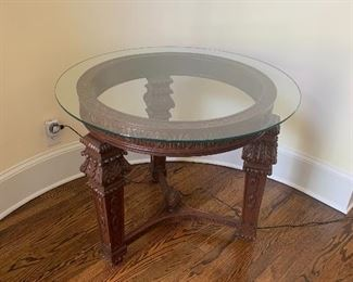 Carved Wood/Glass Foyer Table