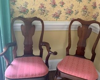 Set of 6 Statton Queen Anne Dining Room Chairs...Old Towne...4 Side, 2 Arm