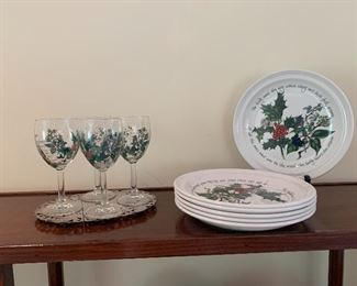 Holly & Ivy Portmerion Plates and Wine Glasses