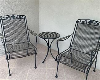 Wrought Iron Chairs and Table