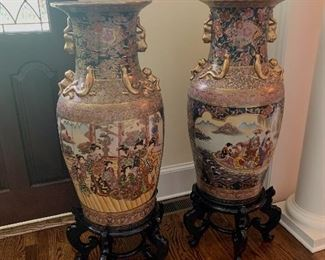 Beautiful Pair of Chinoiserie Floor Vases