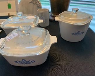 Vintage Blue Flower Casserole Dishes and Rare Measuring Bowl with Lid