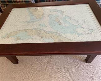 Solid Wood Coffee Table with Glass top and Straits of Florida Map Insert