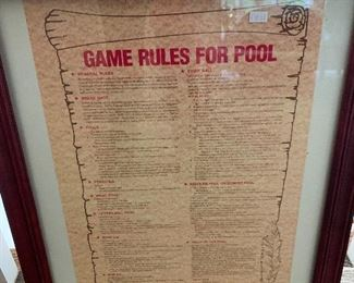 Game Rules for Pool Wall Art