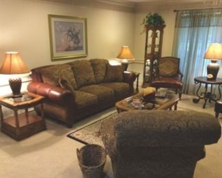 Leather and fabric sofa; comfortable, like-new chairs, accent tables, curio cabinet