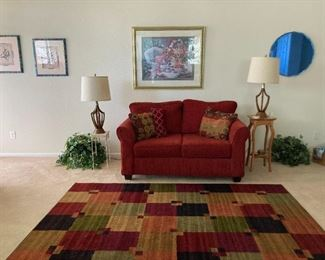 Loveseat and 6 x 9 rug