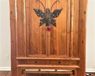 "Antique Pine Asian Inspired Butterfly Cabinet.69""H, 47""L an 21""D.. $750.00"