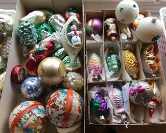 Vintage Christmas ornaments, including mercury glass, papier-mâché, and more.