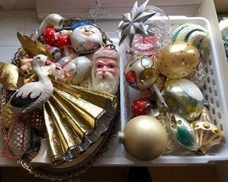 Large selection of antique and vintage Christmas ornaments.