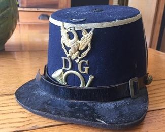 Model 1872 Indian Wars era dress shako. From members of Dwight Guards, an 1870s militia company formed in Dwight, Illinois.