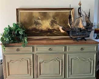 $675-  CUSTOM PAINTED FRENCH BUFFET