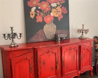 $725~ GORGEOUS ANTIQUE FRENCH BUFFET WITH CUSTOM PAINT