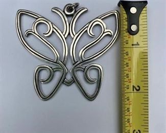 Retired James Avery Sterling Large Butterfly Pendant