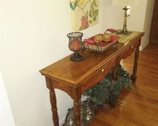 Narrow hallway table with drawers