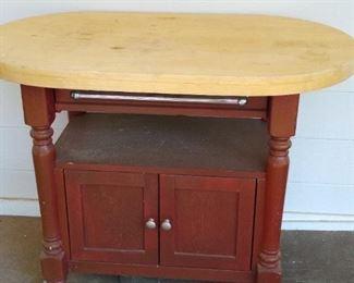 Butcher block table.