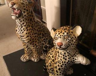 Vintage Hollywood Regency Leopard / Cheetah Figures