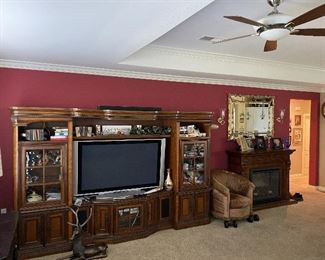 Large 3 piece Entertainment TV Center with Glass Doors, pull outs for DVD, Book shelves and more