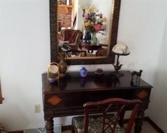 H E Shaw, mahogany spinner desk, wonderful condition
