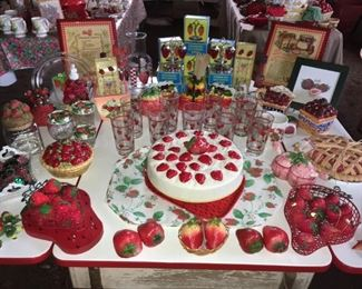 Huge collection of Strawberry Dining, serving and decor pieces.  Strawberry Salt & Pepper Shakers,  Ceramic Strawberry Cake Plate with Cover.