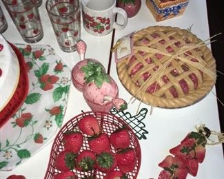 Strawberry shape relish jars, basket & other pieces