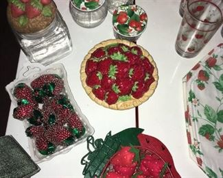 More Strawberry Decor,  Strawberry lidded Canning Jars.