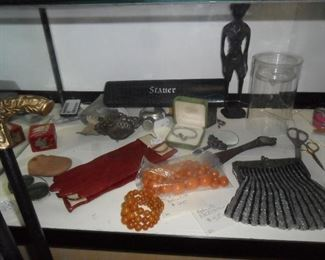 Bakelite bracelet and beads, and other items